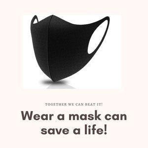 Accessories - 2 Black Cotton Washable Reuseable Masks